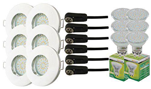 6er Set IP44 Einbaustrahler Bad / Dusche / Sauna inkl. 6x GU10 3,0 Watt LED Leuchtmittel 3000K w-wei� (Wei� TG6729IP-066B)