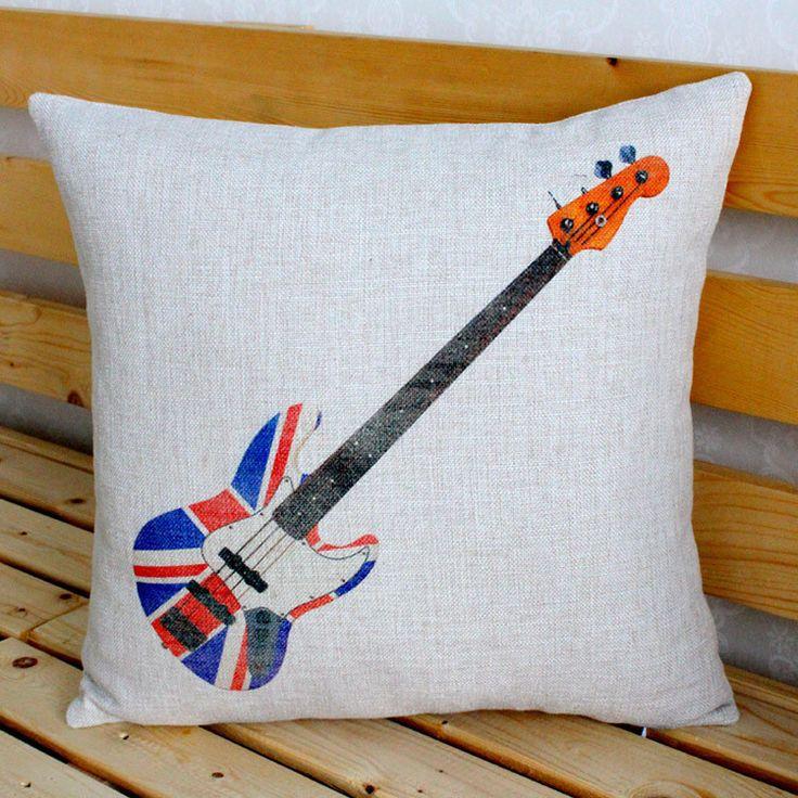 Custom Small Cushion Covers Guitar Cotton Linen Pillow Cushions Car Office Sofa Nap Decorative Throw Pillows Cover Home Decor