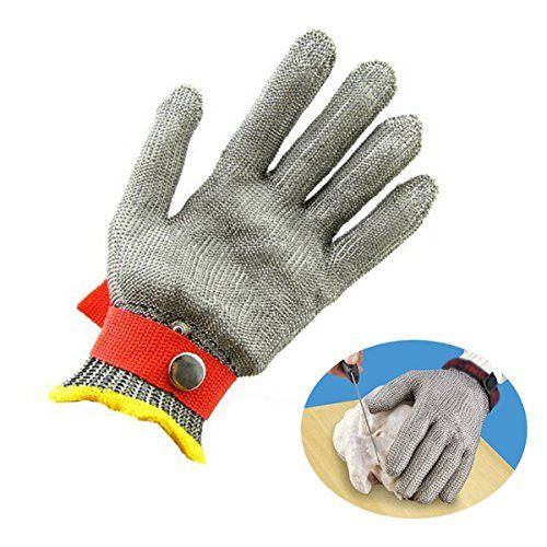 CAMTOA Edelstahl Mesh Stechschutzhandschuh mit Schnittschutz Schutzhandschuhe Sicherheits Cut Proof Butcher Schutzhand Handschuhe