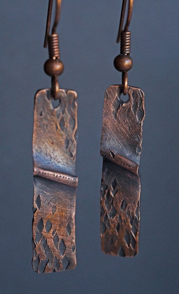 Folded Copper Earrings by driftnbleu on Etsy