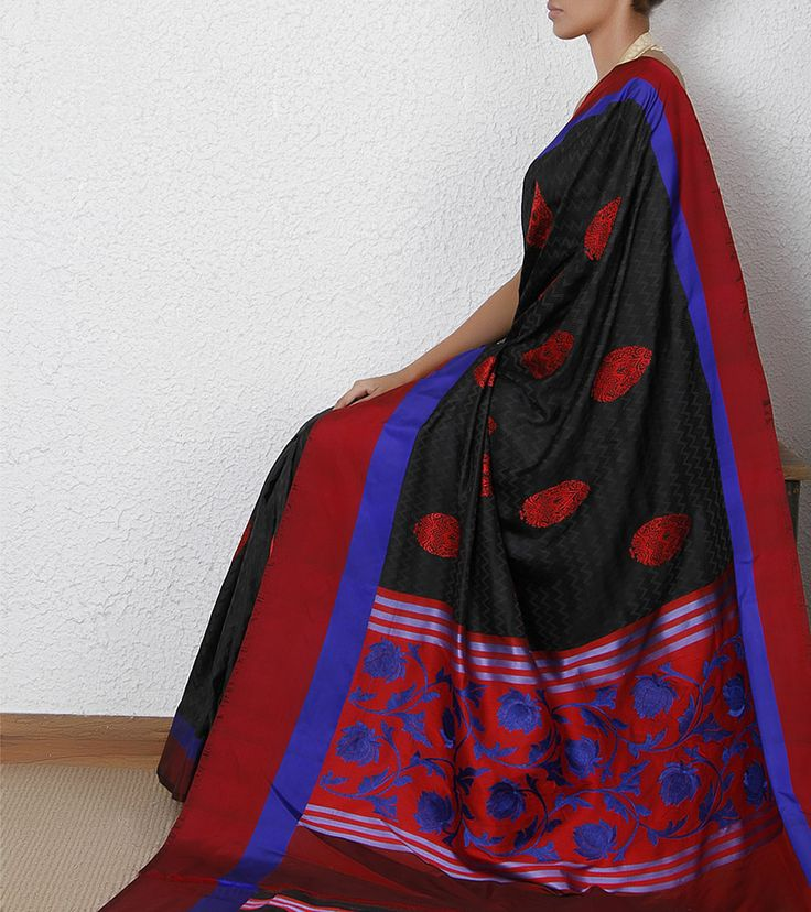 Black Handloom Banarasi Katan Silk Saree