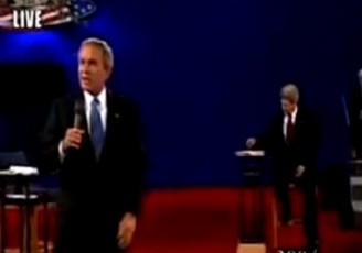 "Bush Flips At Kerry: When Massachusetts Sen. John Kerry used a casual stump speech line in a debate during the 2004 election, saying that the U.S. was ""going it alone"" in Iraq, President George W. Bush was none too happy. He jumped from his seat, shouted down moderator Charlie Gibson, and prompted to list the nations (and their leaders) that joined the U.S. in invading Iraq. The move confirmed the impression of Bush as a hothead and could have cost him dearly."