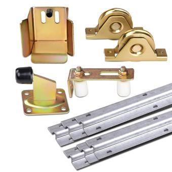 Outdoor DIY Sliding Gate Kit w/ Adjustable Track Wheels Stopper Rollers