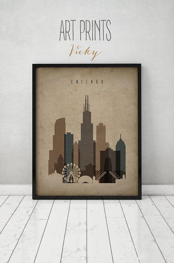 Chicago print Poster Wall art Vintage style by ArtPrintsVicky