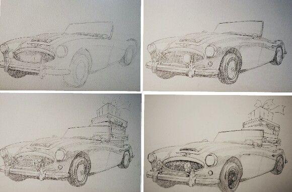 sketch car. convertablecar. drawing