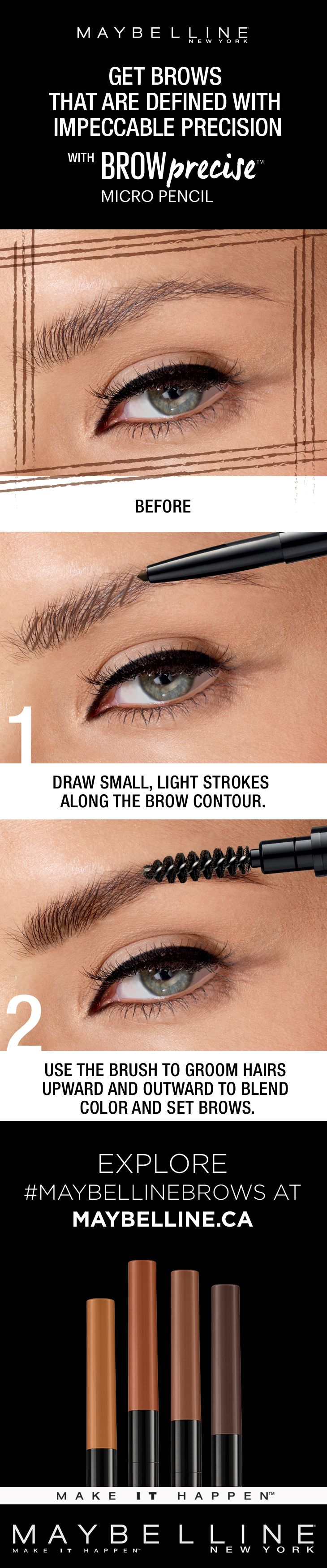 Brows with impeccable precision are yours to own. Using Maybelline's Brow Precise Micro Pencil, there's micro-precision in every stroke! Easily fill and blend in to achieve full and natural-looking brow using the ultra-fine 1.5 mm tip and grooming brush.