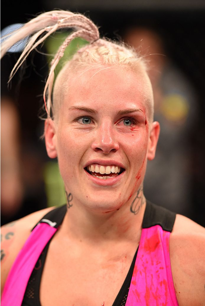 ADELAIDE, AUSTRALIA - MAY 10:   Bec Rawlings celebrates her submission victory over Lisa Ellis in their women's strawweight bout during the UFC Fight Night event at the Adelaide Entertainment Centre on May 10, 2015 in Adelaide, Australia. (Photo by Josh Hedges/Zuffa LLC/Zuffa LLC via Getty Images)