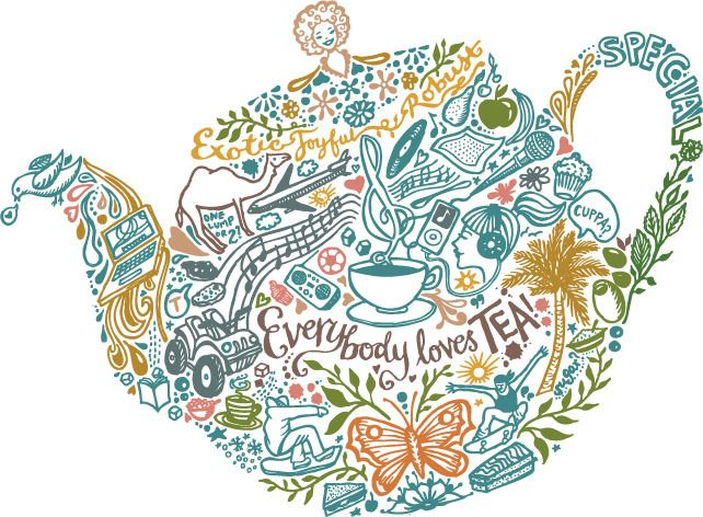 Image of Inkymole 'EVERYBODY LOVES TEA' print by Sarah Coleman.