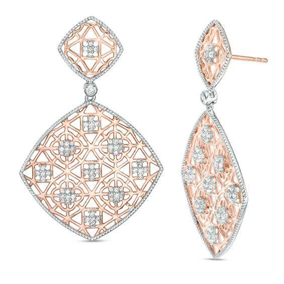 1 2 Ct T W Diamond Lattice Tilted Square Drop Earrings In 10k Rose Gold Zales Drop Earrings Bridal Earrings Drop Earthy Jewelry