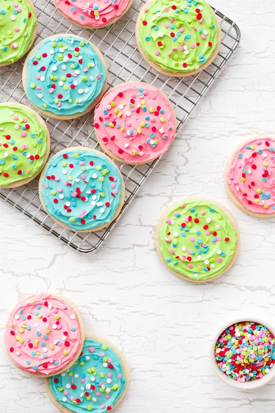 Soft Frosted Sugar Cookies from @loveandoliveoil