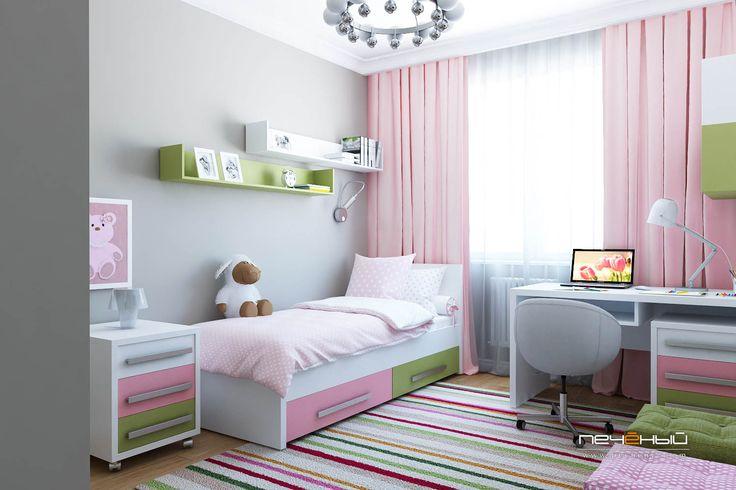 Дизайн детской в панельном доме П-44. Дизайн интерьера комнаты подростка девочки. Современный стиль. Цвета: зелёный, розовый, белый, серый.