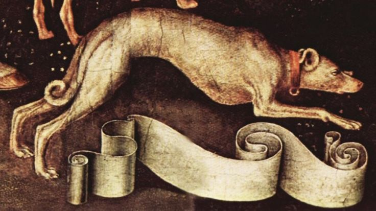 Painting of a  Greyhound from Pisanello's portrait of a princess of the house of Estes circa 1440's