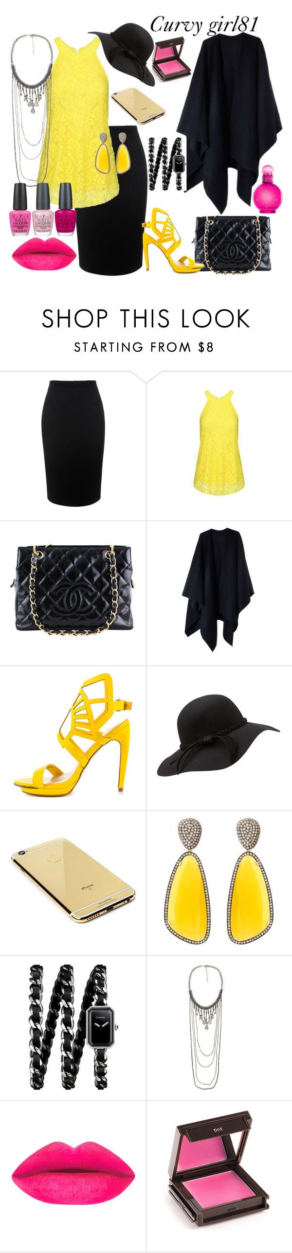 """Curvy set dual color"" by pretty-girl81 on Polyvore featuring moda, Alexander McQueen, Chanel, Acne Studios, Penny Loves Kenny, Goldgenie, Christina Debs, Jouer, OPI e women's clothing"
