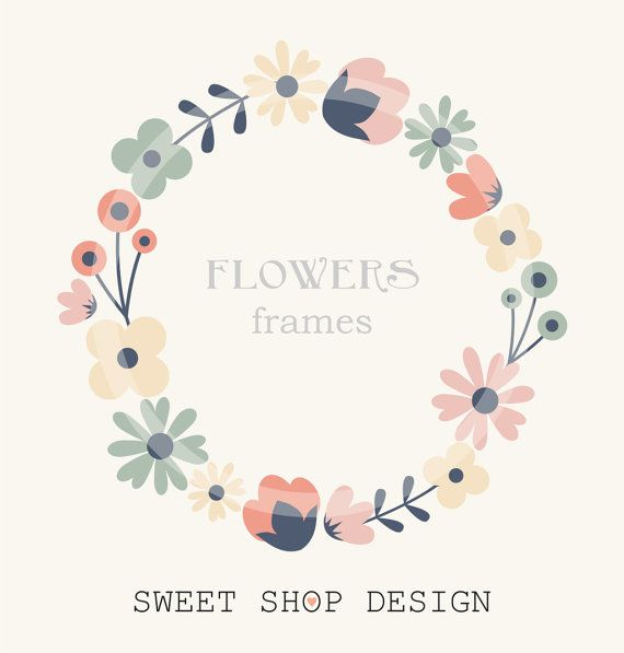 Flower Border Clip Art, Frames, Royalty Free Clip Art, N02, Instant Download by SweetShopDesign, $4.95