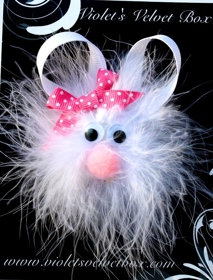 Easter Hair Clip- Easter Hair Bow- Bunny Hair Clippie- Baby Hair Bows- by Violet's Velvet Box. $5.99, via Etsy.