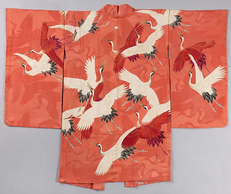 JAPAN: Vrouwen haori met witte en rode kraanvogels, anoniem, 1920 - 1940