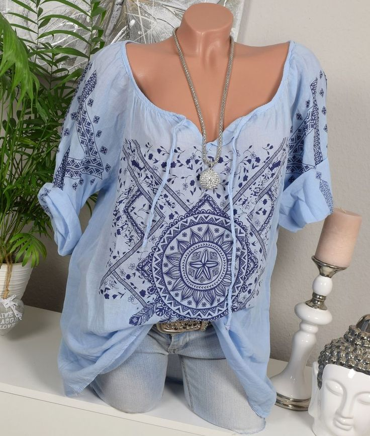 Größe: Einheitsgröße ideal für Größe 42 44 46 (je nach Größe etwas lockerer bzw enger anliegend). Wunderschöne, locker sitzende Tunika Bluse mit Ethno Print. Leicht transparente Baumwoll Qualität - Lässt sich auch super mit einem Top kombinieren. | eBay!