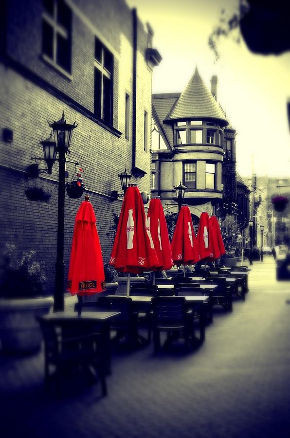 Red umbrellas canvas print canvas art by dariusz szupina contrast photographysplash photographycolor photographyblack white