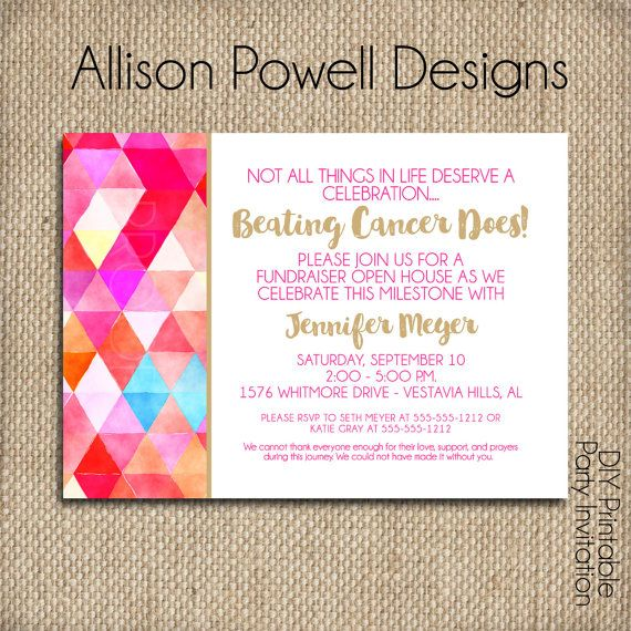 Beating Cancer Invitation No More Chemo by allisonpowelldesigns