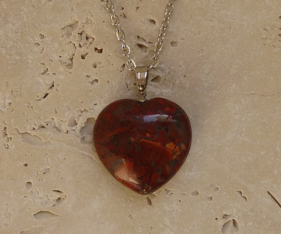 Heart shape Jasper necklace / Red gemstone by ShawlsandtheCity, $24.00
