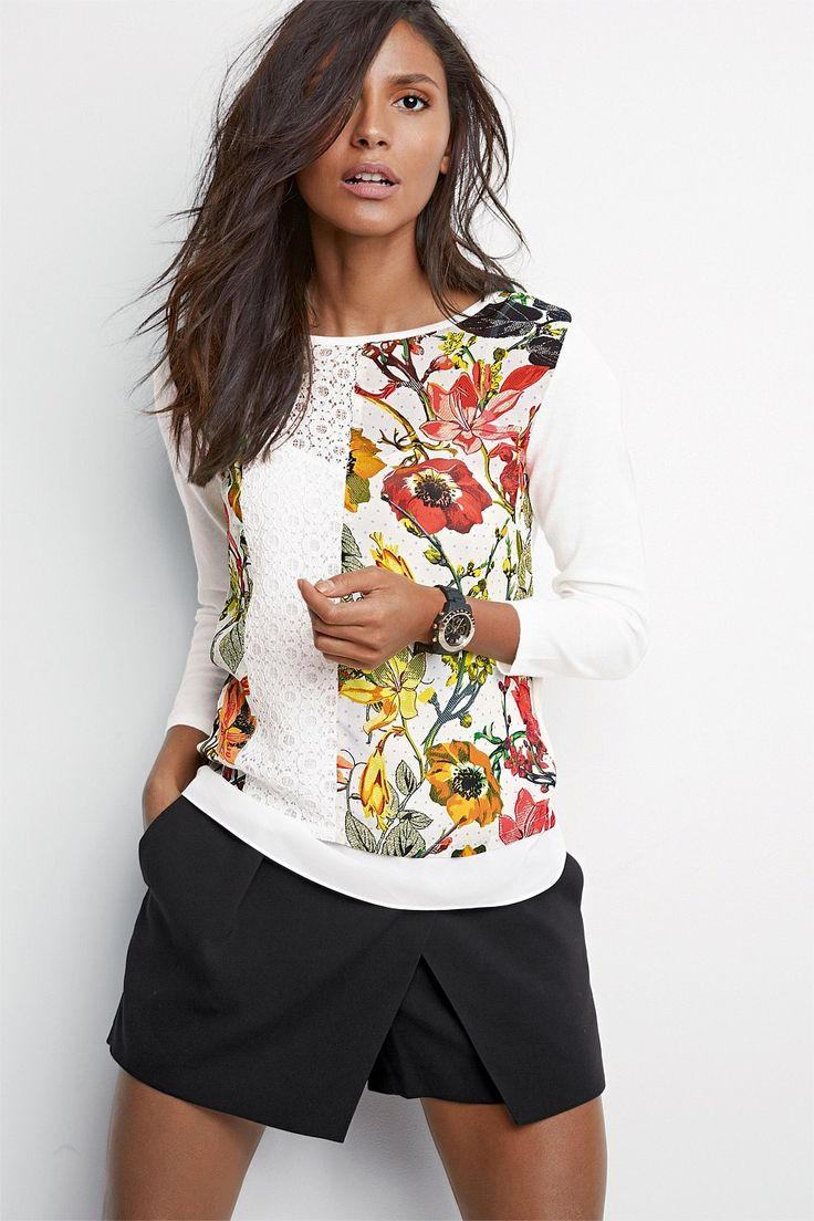 Next Printed Layer Sweater With Removable Cami - EziBuy Australia