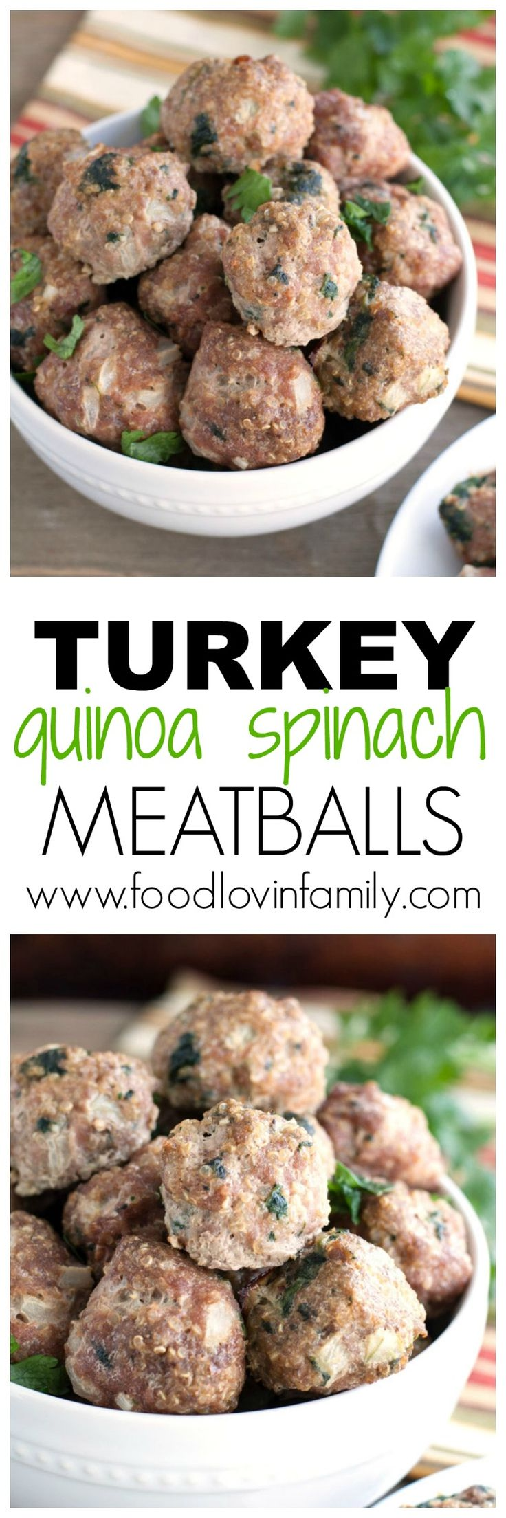 Turkey quinoa and spinach meatballs   These are great served with pasta, spaghetti squash or as an appetizer.  meatball  Quinoa http://www.foodlovinfamily.com/turkey-quinoa-and-spinach-meatballs/