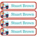 Transport Pastel Red Iron On Label