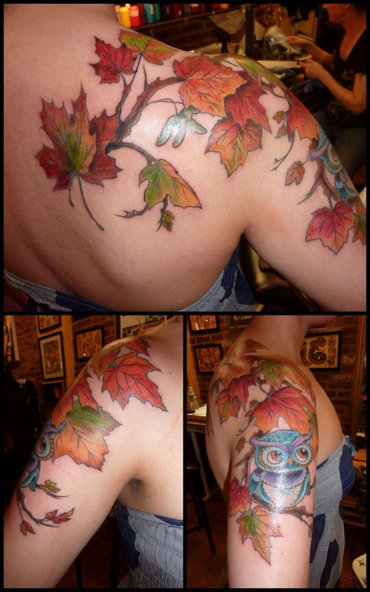 Loving this shoulder piece; fall leaves & the owl~