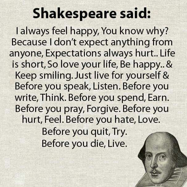 William Shakespeare #LifeQuotes #Happiness #Rules2LiveBy