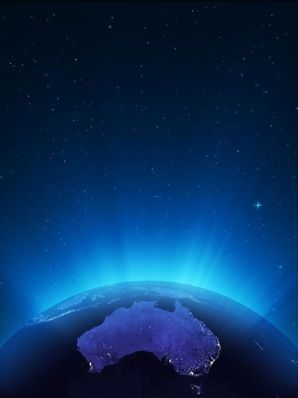 Australia at night- the small island below is the State of Tasmania. A State of Australia.