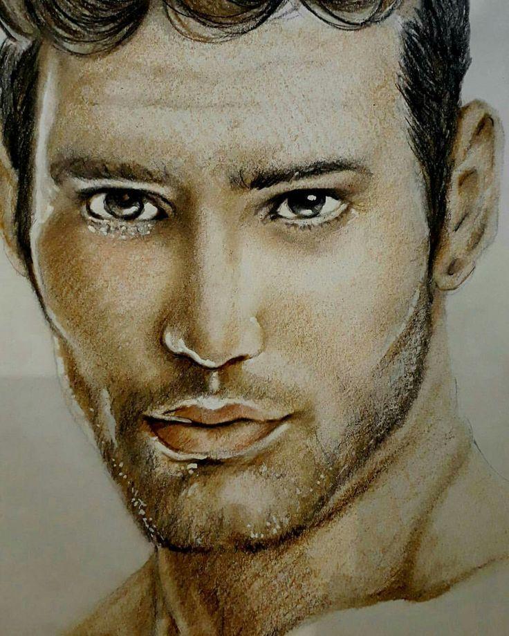 Man in colored pencil