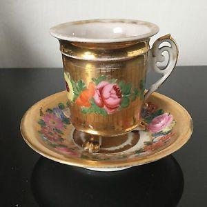 Tasse Louis Philippe en Porcelaine de Paris XIXè Décor de Fleurs Anse Crosse | eBay