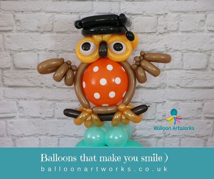 Wise graduation balloon owl sculpture by Balloon Artworks of Ripley Derbyshire. ...  #artworks #Balloon #derbyshire #graduation #Owl