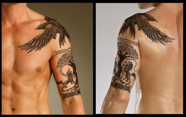 Yggdrasil (Norse Mythology) Half-Sleeve eagle over heart for dad