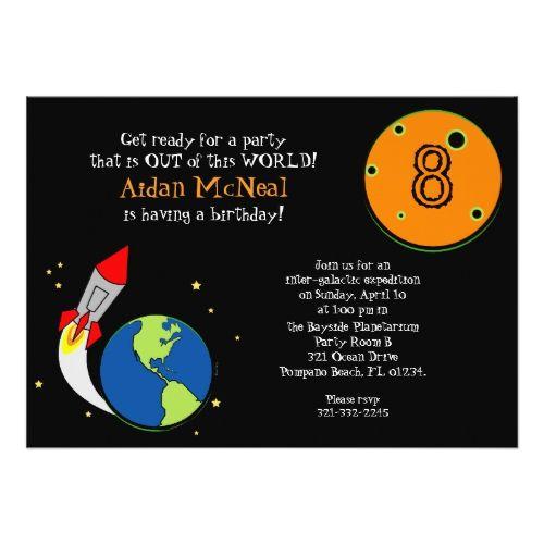space rocket BIRTHDAY PARTY invitation