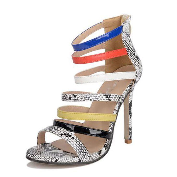 strappy heels sandals Summer shoes peep toe high heels Gladiator Sandals  for Women heels sapato feminino