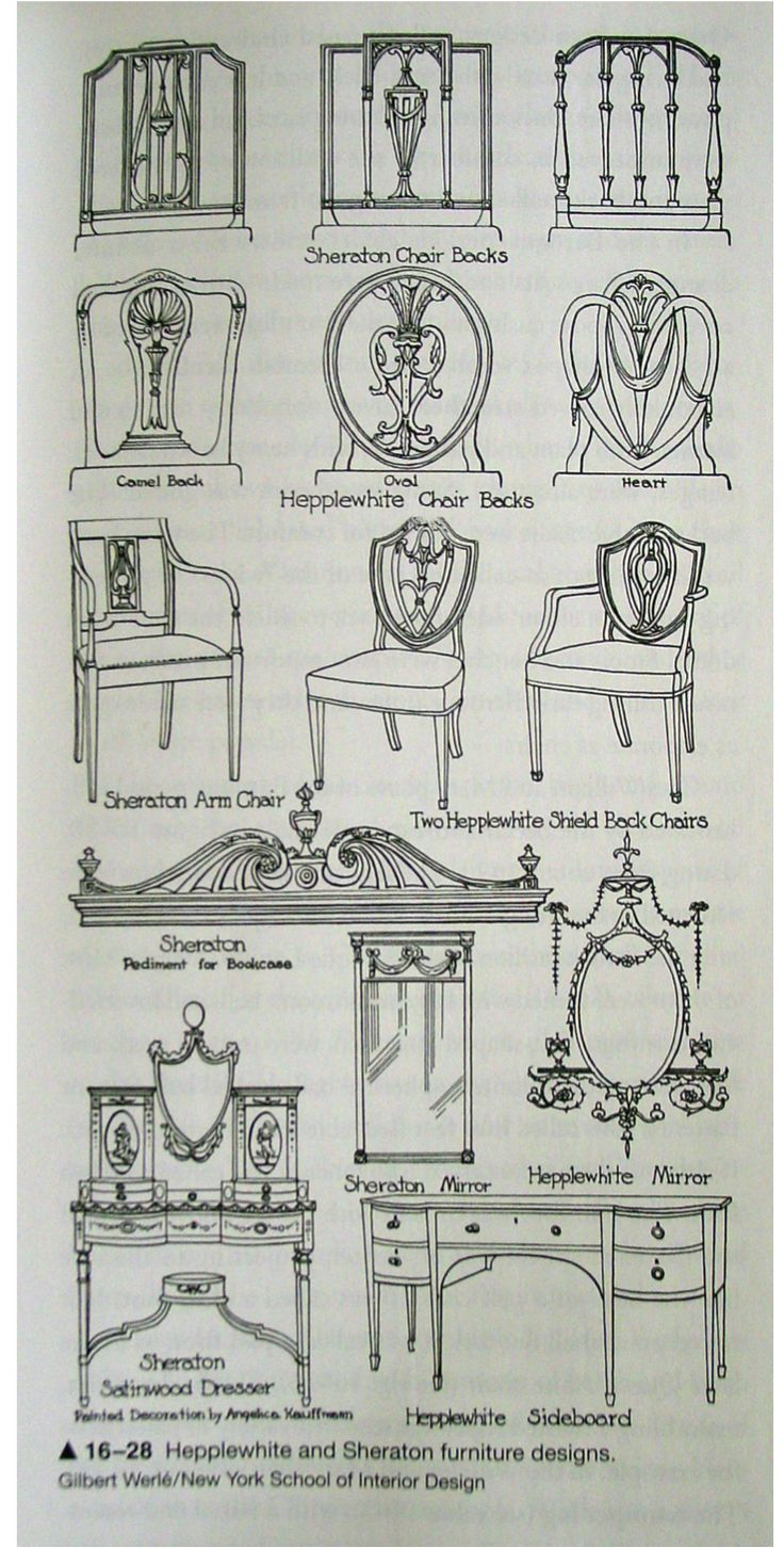 Stoelen repareren! Hepplewhite and Sheraton Furniture examples of Georgian Style. 1783-1800