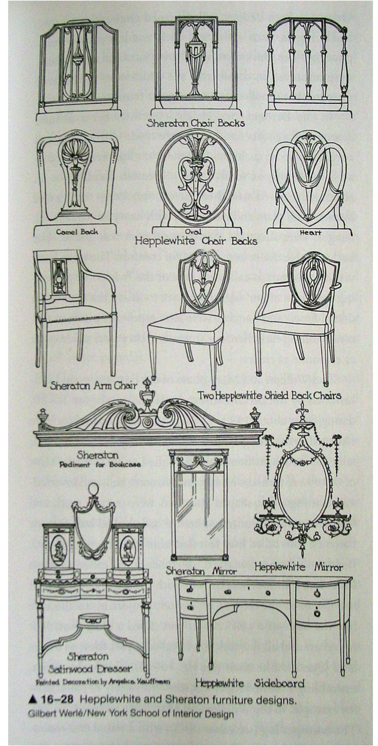 Ejemplos de los estilos Hepplewhite and Sheraton en muebles. Inglaterra, siglo XVIII.  #Esmadeco.