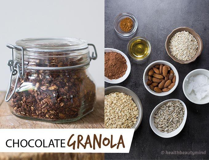 Hallo allemaal! Vandaag heb ik een superlekker recept voor jullie! Zelfgemaaktechocolade granola! Granola is een soort muesli die je eventjes kort in de oven bakt en waar je eigenlijk alles in kunt doen wat je lekker vind!Er zit meestal granen, noten, rozijnen of gepofte rijst in. Uiteraard kun