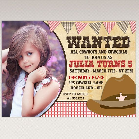 Cowgirl Rodeo Birthday Party Printable Photo Invitation by PNArt