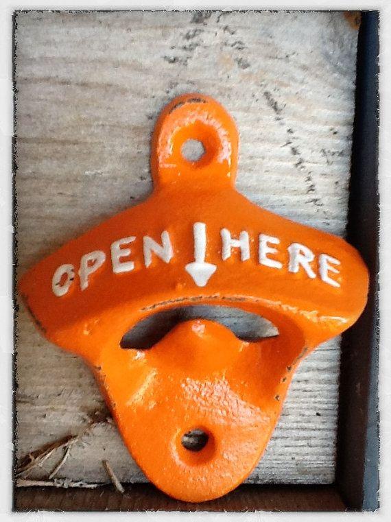 Bright Orange Bottle Opener Bright Cast Iron by AlacartCreations