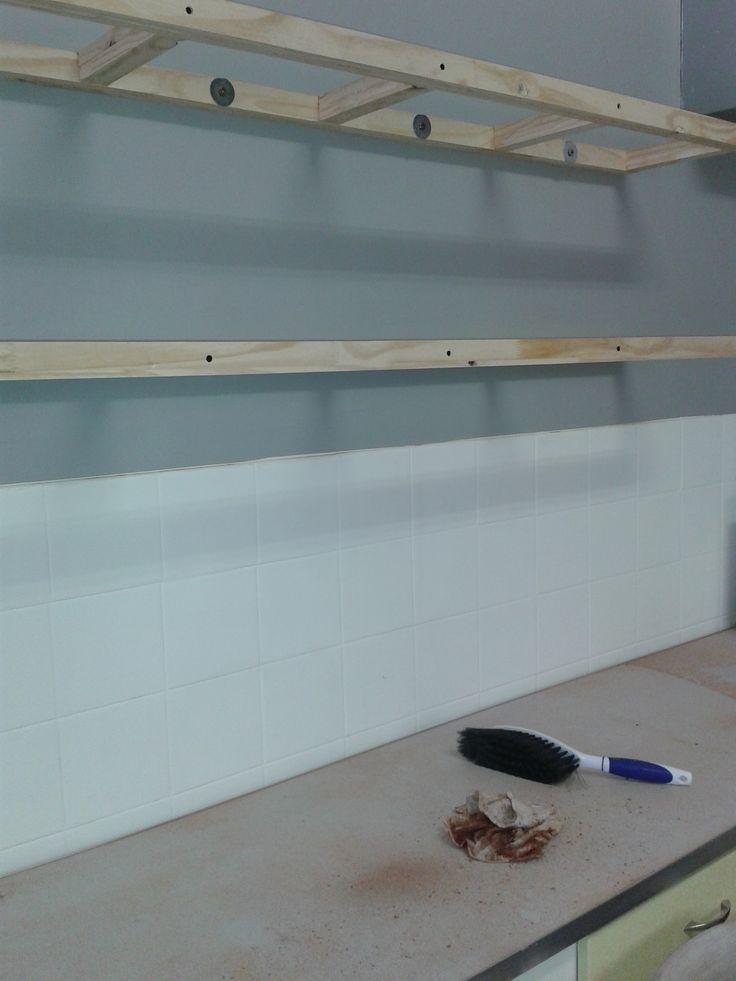 Floating kitchen shelves frames for Riana