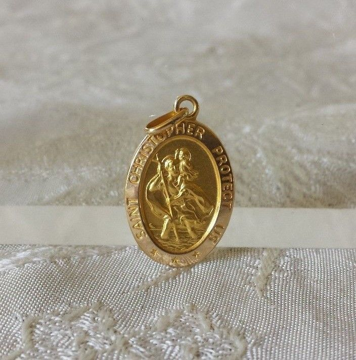 "14k Yellow Gold Italian St Christopher Medal 3.4 grams 1"" Estate Find"