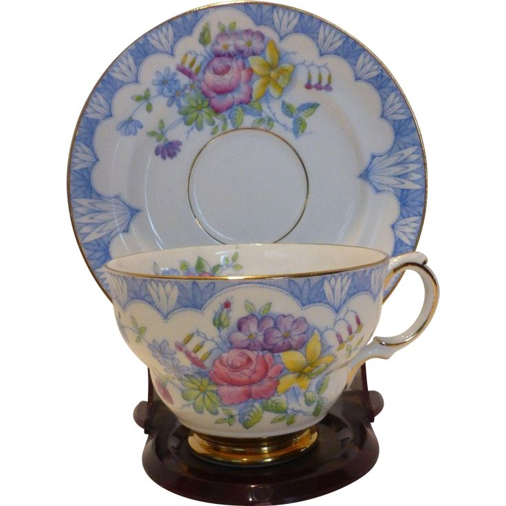 Dainty Rosina Hand Painted English Bone China Floral Tea Cup Saucer - Blue and white teacup and saucer with pastel flowers. Hand painted porcelain teacup coffee cup.