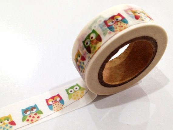 Japanese Washi Tape, Rainbow Owl Bunting Garland Flag 10METRE