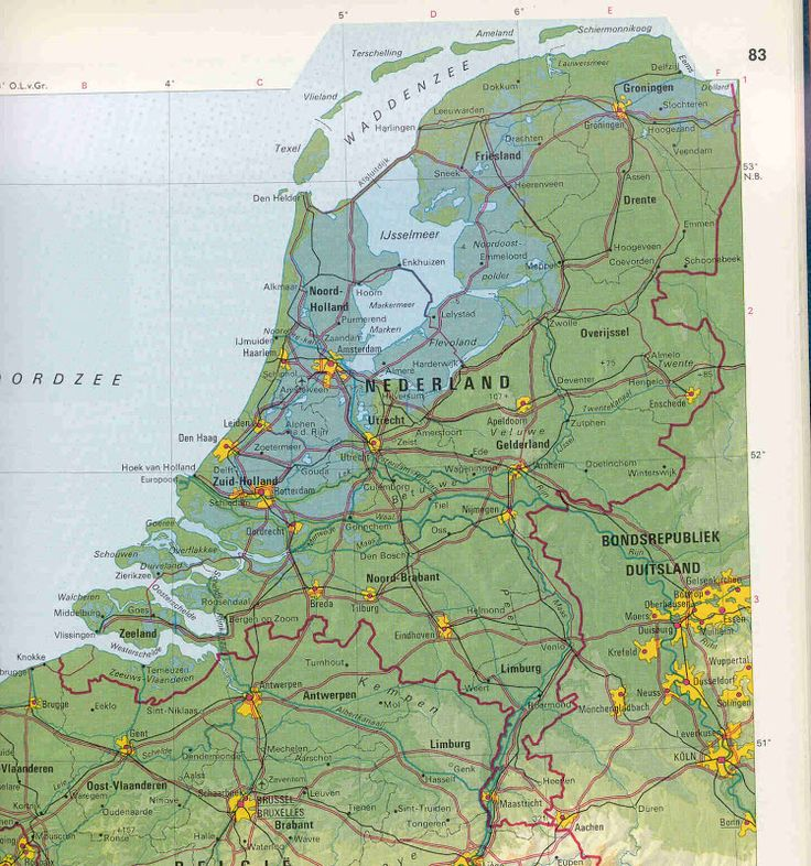 Physical Map of the Netherlands