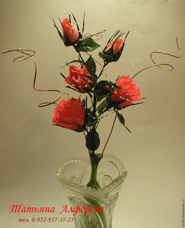 Купить Букет из конфет - Роза - комбинированный, роза ручной работы, подарок на любой случай