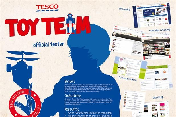 "To get their verdicts seen by the right people, Tesco collaborated with Netmums, which hosted the videos on a specially created toy review page. They were also shared with Tesco's social media channels and SMS databases, and made available at point-of-sale.  The toy reviews got more than 700,000 views in a few weeks and received thousands of Facebook ""likes""."