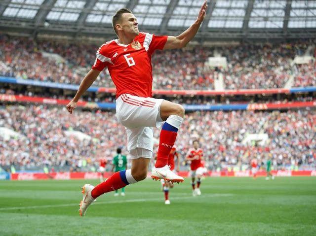 Denis Cheryshev Saat Merayakan Gol Rusia Ke Gawang Arab Saudi