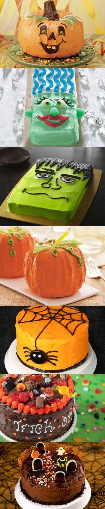 Halloween Cakes! i love the frankenstein for the fall festival cake walk at…